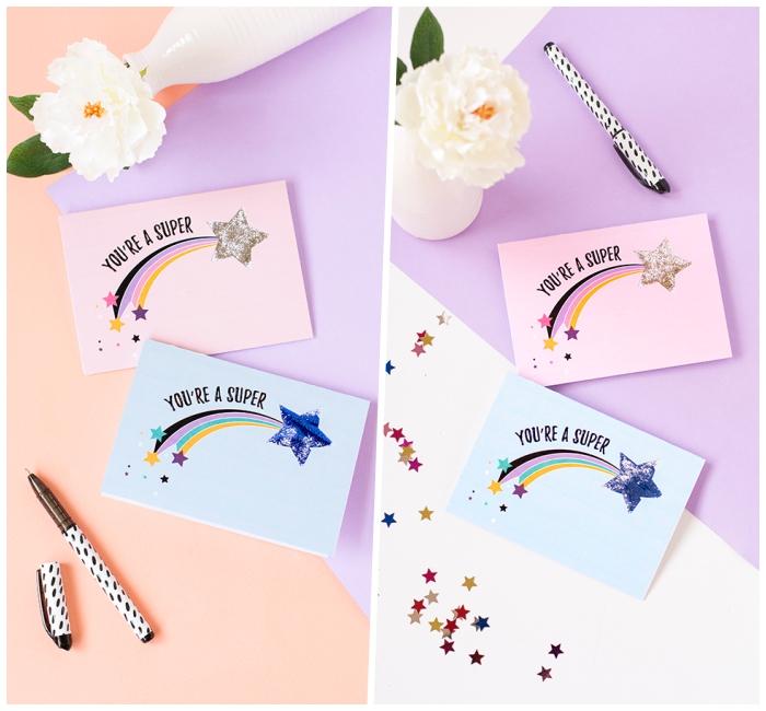 une carte d'anniversaire fille avec motif coloré étoile filante, modèle de carte de voeux avec message à imprimer et à personnaliser