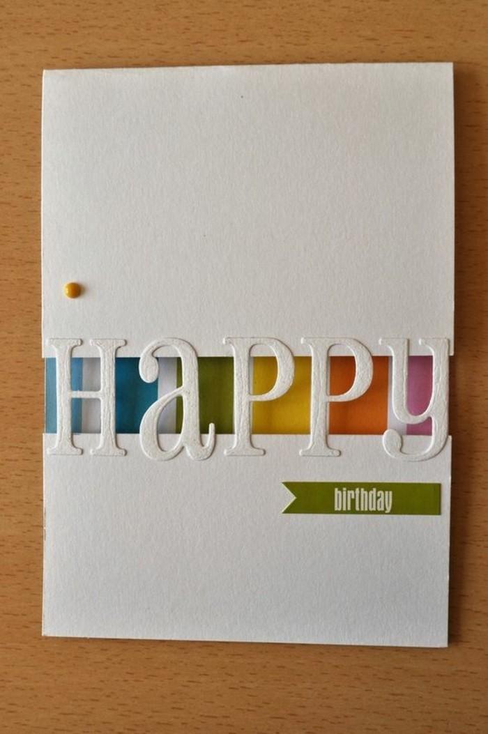 jolie carte bonne fête d'anniversaire avec inscription en découpe qui laisse voir l'intérieur arc-en-ciel