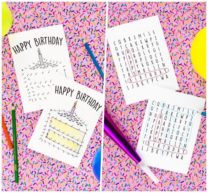 modèles de carte d'anniversaire à imprimer recto verso avec des jeux de mots mêlés et de points à relier su