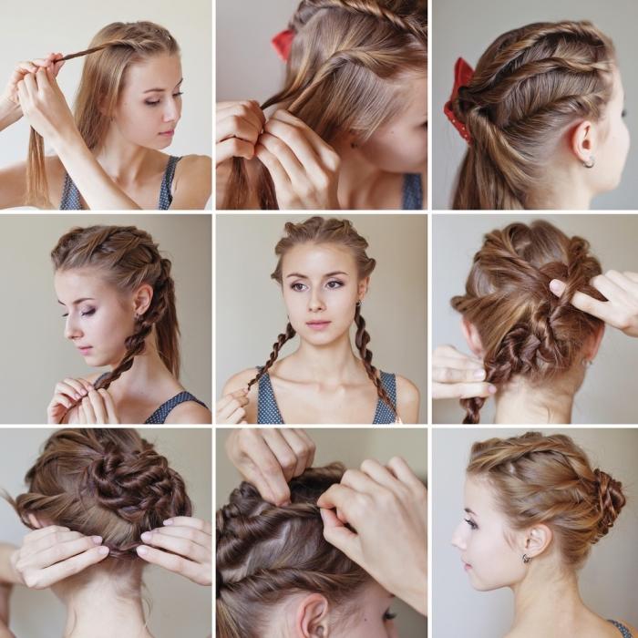 faire un chignon tressé avec de faux tresses de quelques mèches entortillées, coiffure femme cheveux mi long