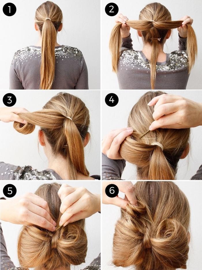 idée de coiffure noeud de papillon réalisé sur cheveux longs, tutoriel pour faire une coiffure de soirée originale