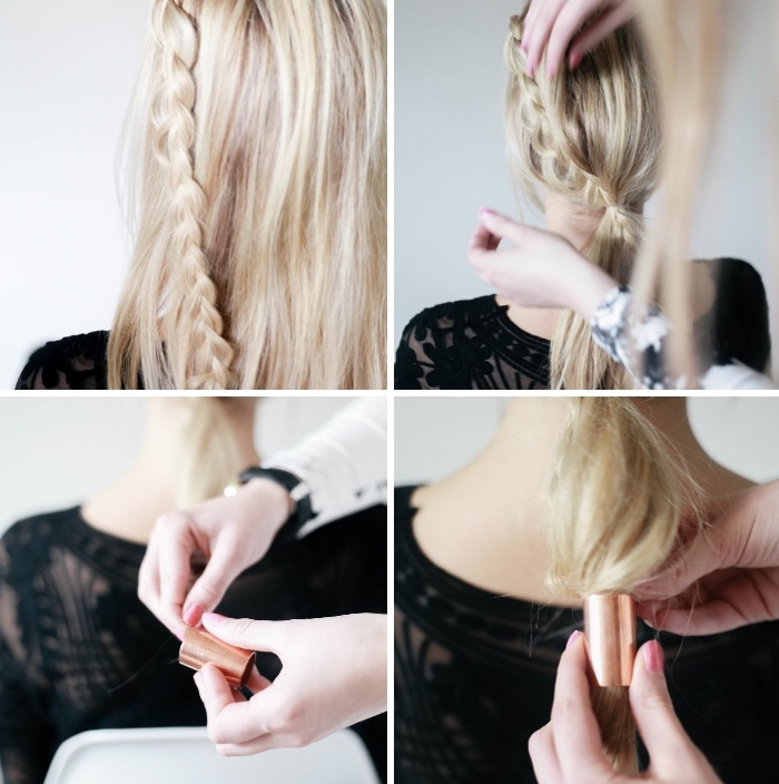 comment faire une queue de cheval basse sur cheveux longs blond, coiffure avec tresse de coté et accessoire cheveux anneau en cuivre