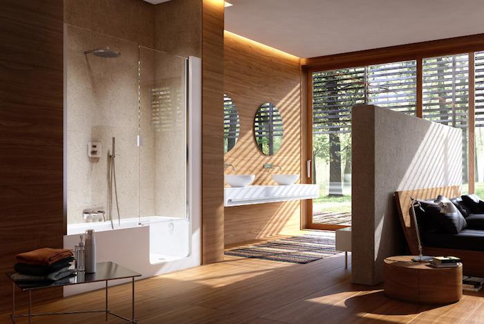 Miroirs rondes, lavabo meuble double, salle de bain blanche, cool idée comment décorer une pièce simble, petit tapis avant la porte fenetre qui donne au jardin