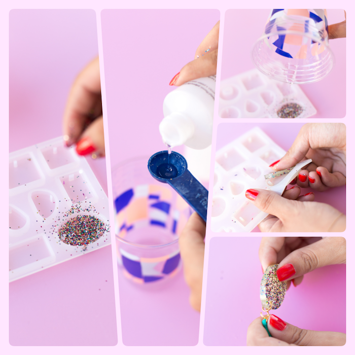 étapes à suivre pour faire des boucles d'oreilles en résine, cadeau fête des mères à fabriquer, technique figurines dans moule silicone avec résine