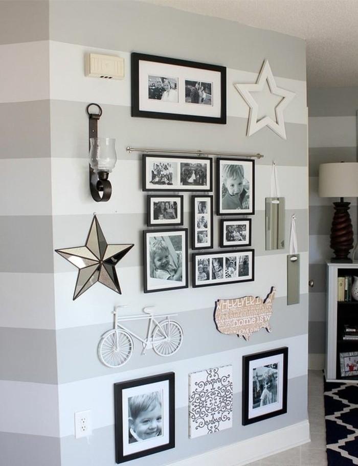 vélo blanc accroché au mur, étoile déco, bicyclette blanche, photos encadrées