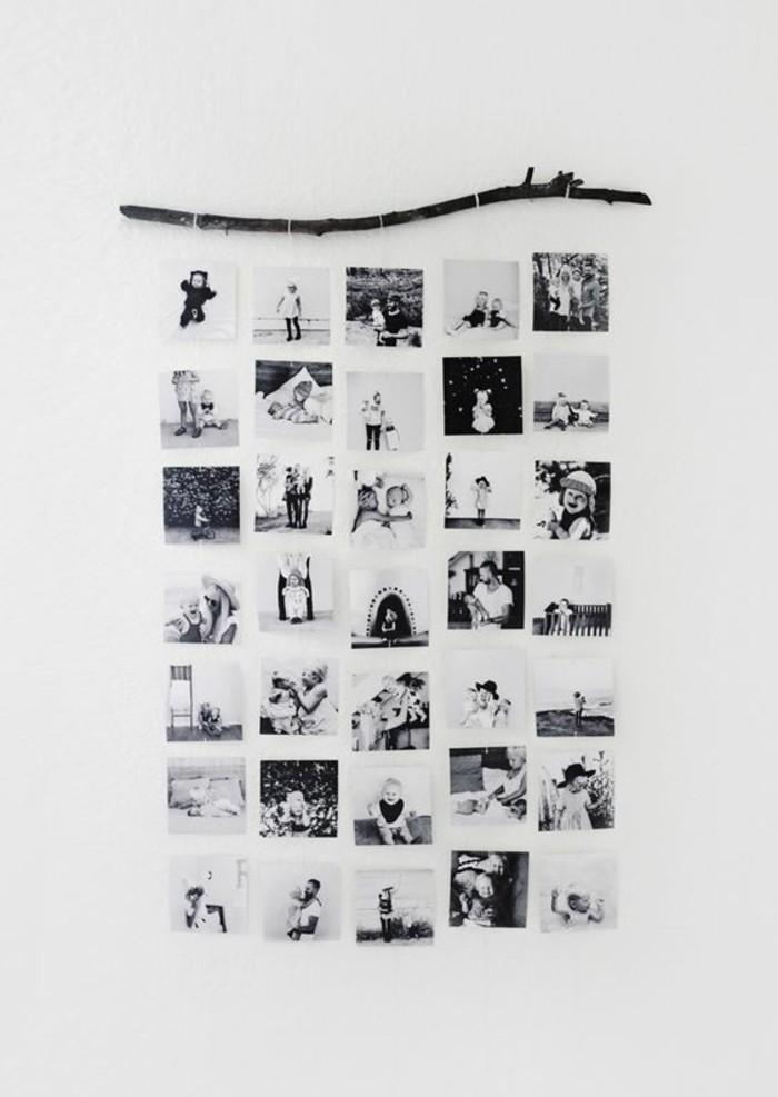 déco avec photos monochromes, bâton en bois flotté, photographies souvenirs d'enfance