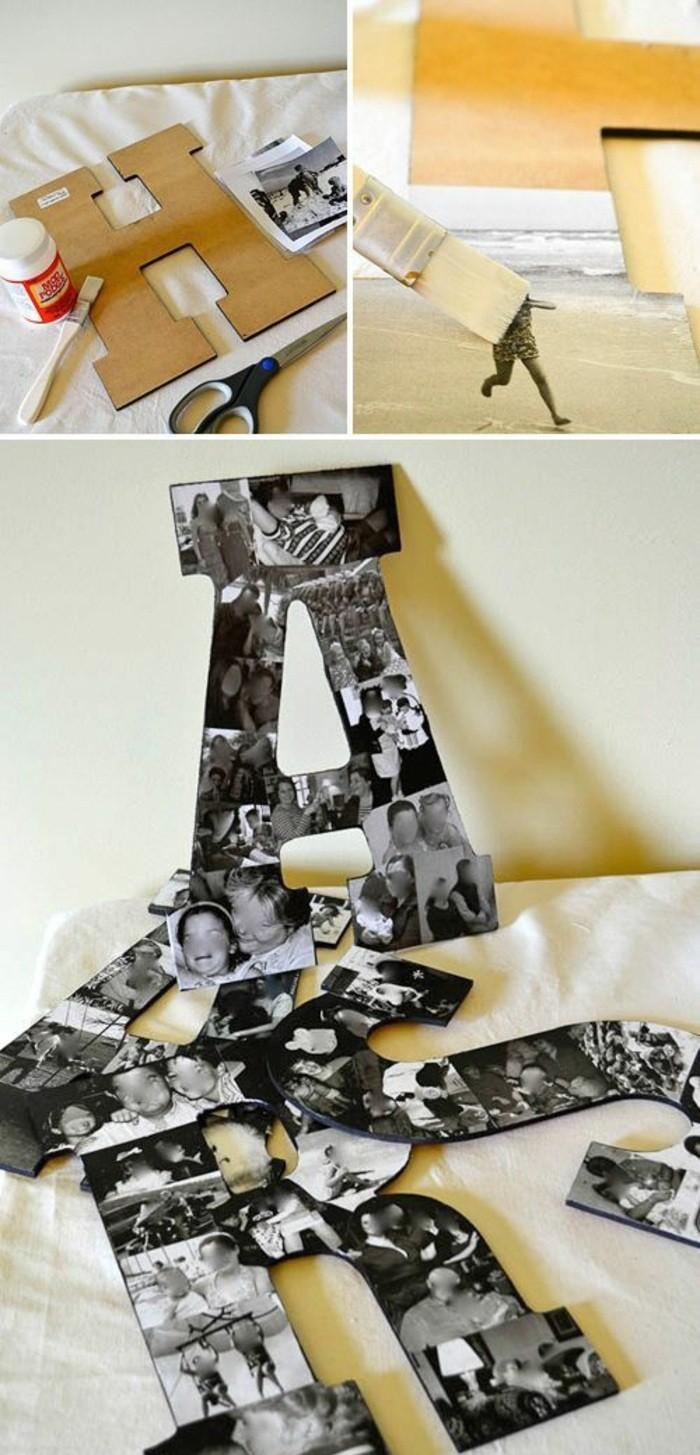lettre couverte de photos, déco murale créative en photos et carton découpé en forme de lettre