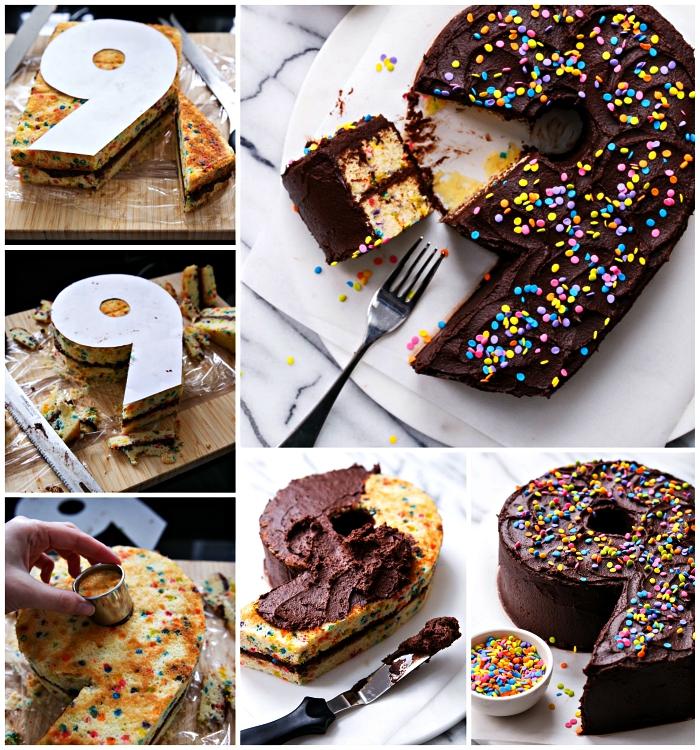 comment faire un number cake recette de génoise à la vanille, génoise découpée en forme de chiffre recouverte de glaçage au chocolat, gâteau d'anniversaire enfant de 9 ans