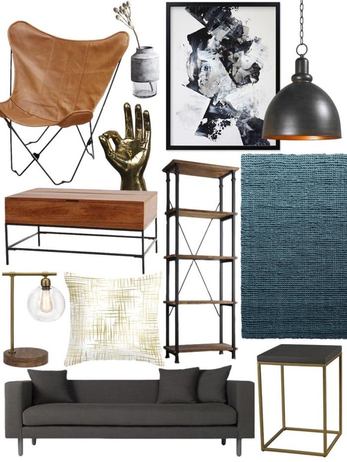 deco industrielle pas cher avec objets métal et bois, modèle de canapé gris anthracite pour salon, table basse bois et fer