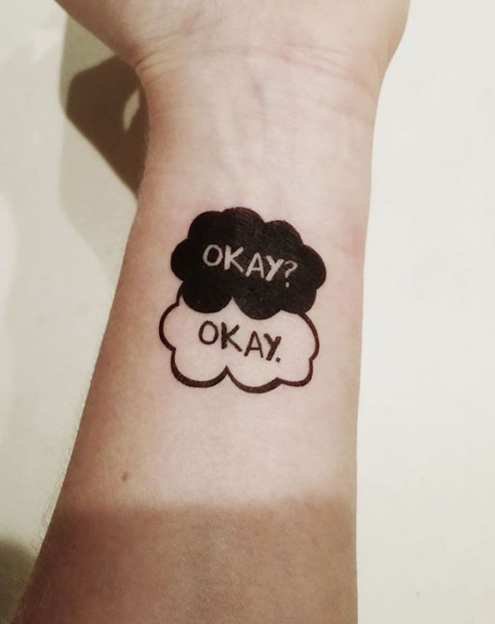 Okay? Okay tatouage de livre citation, tatouage phrase, tatouage original, design original pour tatouage swagg