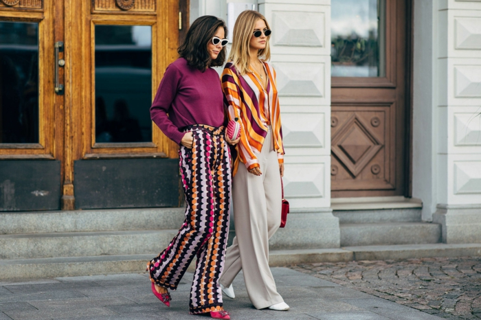 pantalon imprimés zigzags, shirt lilas, chemise rayé, rayures colorées, pantalon ample blanc
