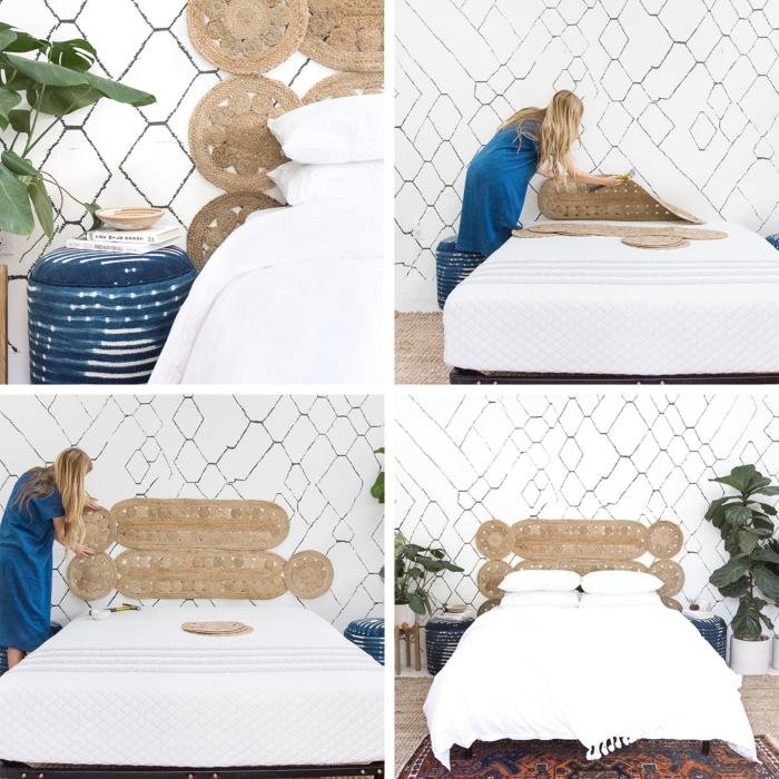 utiliser sets de table en paille pour créer une tete de lit fait maison originale, design intérieur bohème chic avec objets ethniques