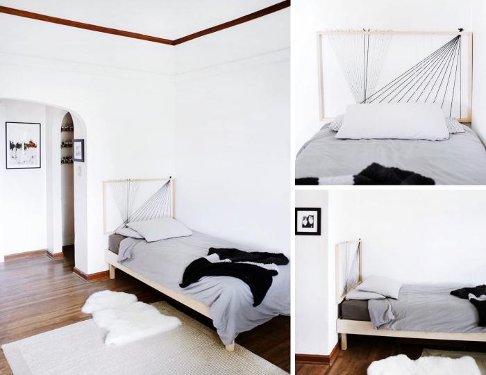 quelle tete de lit originale faire soi-même, modèle tête de lit en cadre bois avec fils, déco minimaliste dans une chambre blanche