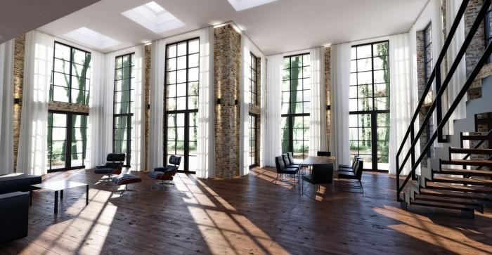 exemple décoration de pièce à plafond haut avec meubles cuir et bois, modèle escalier moderne sans contremarches, salon style industriel