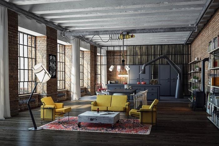 comment aménager un appartement loft avec buffet style industriel ou rangement ouvert, idée cuisine gris anthracite,