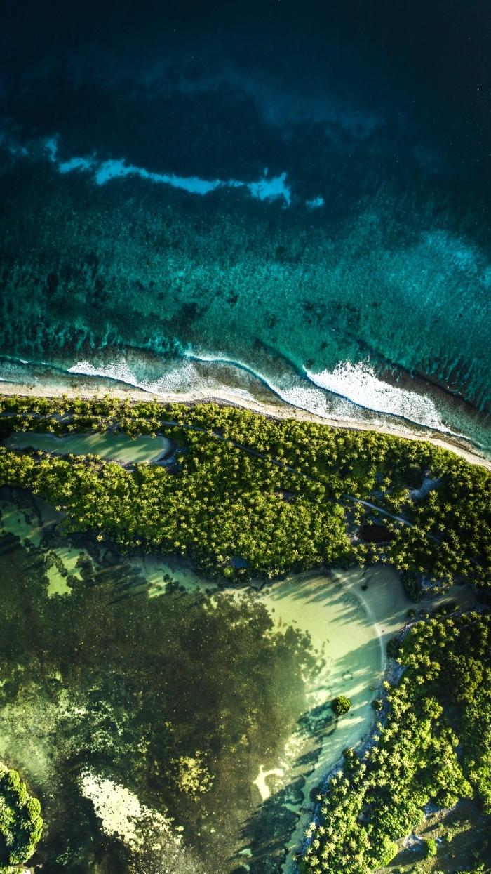 faire de jolies photos avec drône, idée fond ecran smartphone avec paysage exotique, photo nature sauvage