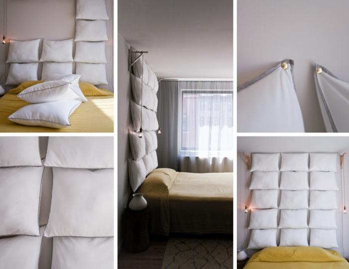 idée pour une tete de lit fait maison originale, comment décorer le mur au-dessus d'un lit dans la chambre à coucher