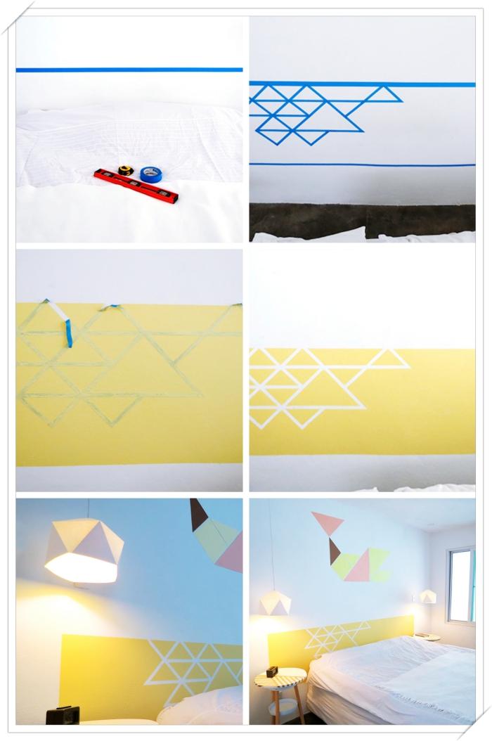 exemple de tete de lit originale en peinture, comment peindre les murs dans une chambre d'enfant, diy tête de lit aux motifs géométriques
