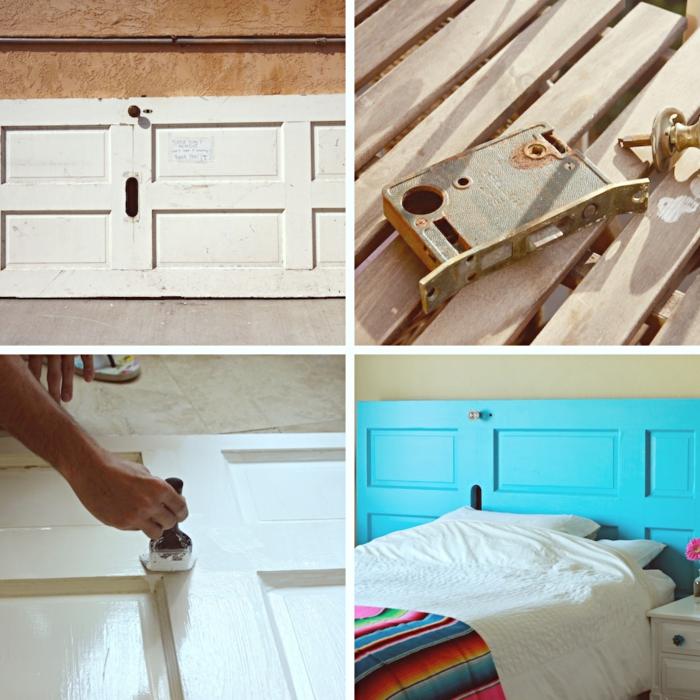 idée relooking meubles en bois avec peinture, que faire avec vieille porte, idee tete de lit en porte repeinte en bleue