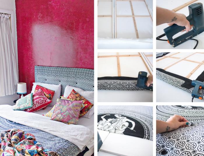 comment réaliser une tête de lit en tissu, déco de chambre à coucher avec objets motifs ethniques et peinture rouge
