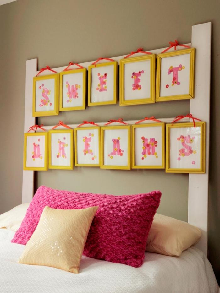 idée pour réaliser une tete de lit originale avec cadres photos, quelle peinture pour une chambre à coucher moderne