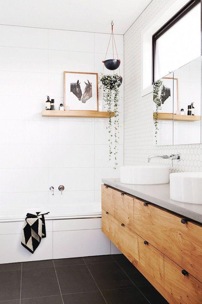 Peinture deux cheveux, plante pendante, ikea meuble salle de bain, design salle de bain pas cher inspiration