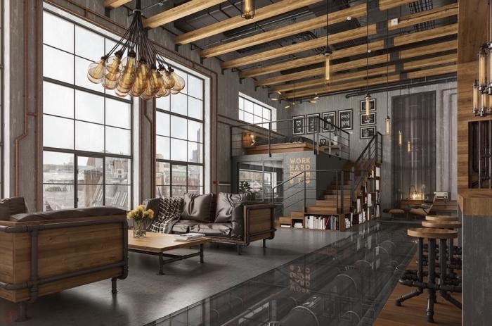 quel objet deco industrielle pour un loft rustique, revêtement de plancher à imitation béton, modèle canapé bois et fer