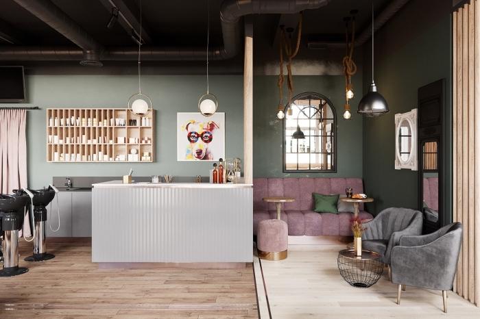 design intérieur style contemporain dans un salon industriel, idée peinture tendance nuances de vert, meuble rangement de cuisine en bois