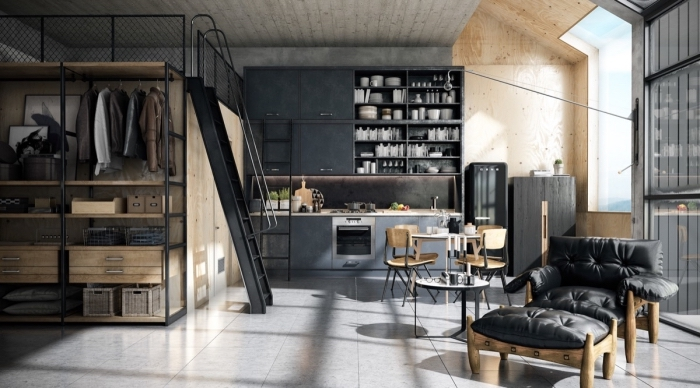 design intérieur contemporain dans une cuisine industrielle, pièce aux murs gris avec plancher en carreaux béton