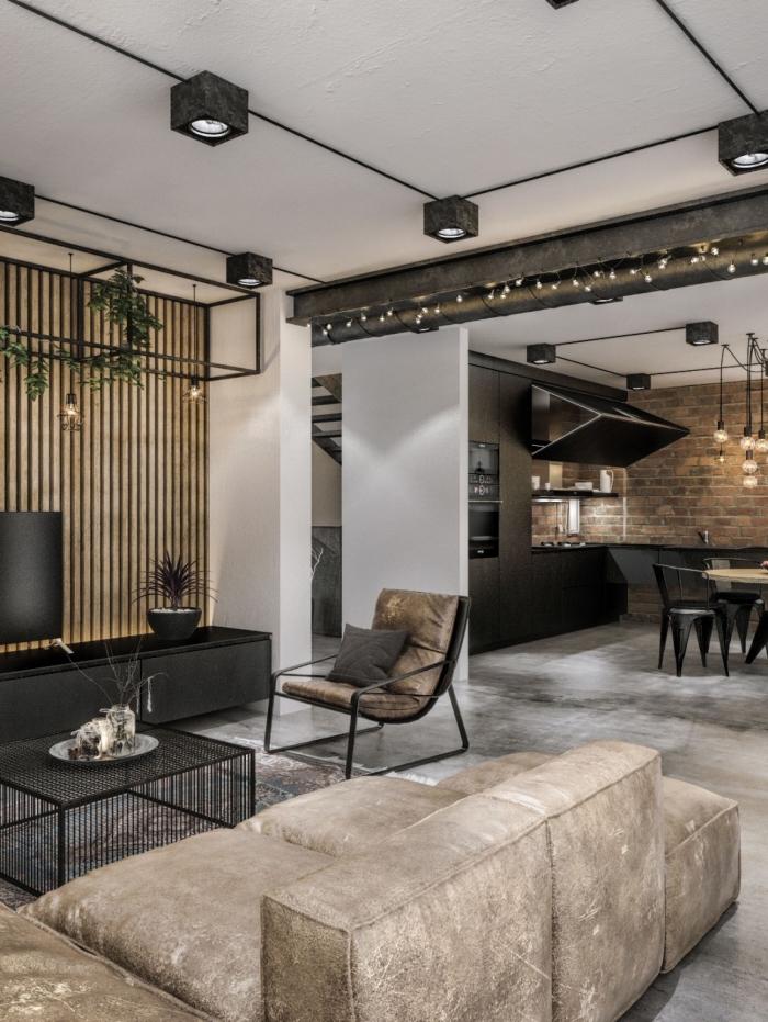 idée canapé style industriel en beige, déco salon blanc avec plancher en dalles béton, meubles en fer pour salon