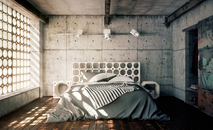 modèle de chambre à coucher industrielle, design minimaliste dans une pièce industrielle aménagée avec meubles blancs