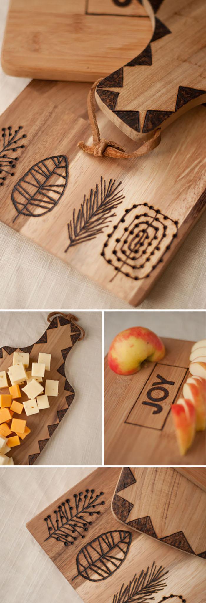DIY planche avec dessins sur bois, cadeau mariage original, cadeau anniversaire de mariage