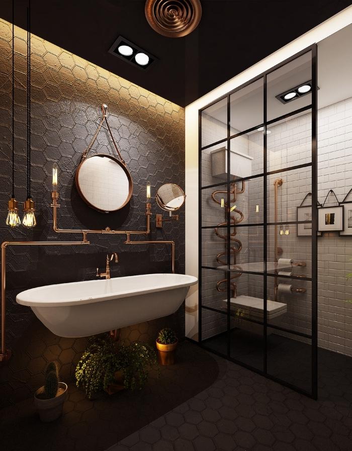 agencement salle de bain foncé avec cabine douche blanche, idée carrelage original pour salle de bain, deco murale industrielle avec tuyaux apparents cuivre