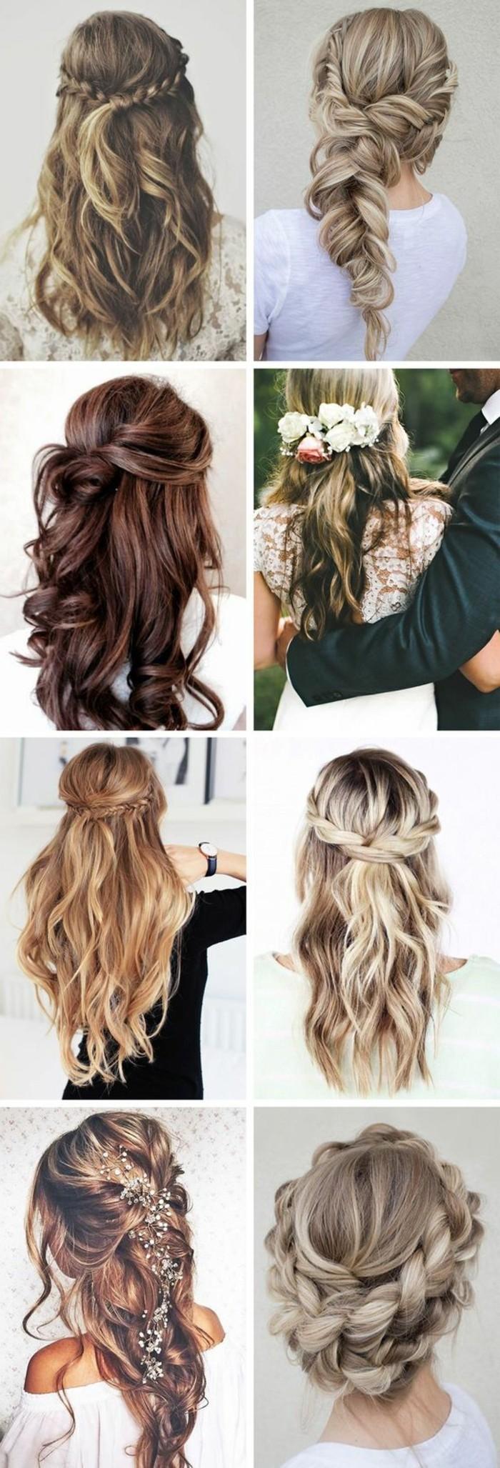 modeles de coiffure avec tresse, exemples de chignon tressé, tresse xxl ou demi queue de cheval avec tresse