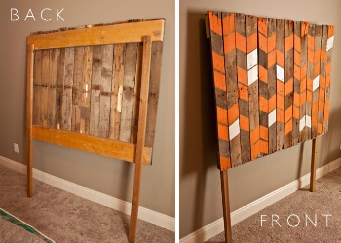 exemple comment construire une tete de lit originale, modèle tête de lit en lattes bois de palettes recyclées