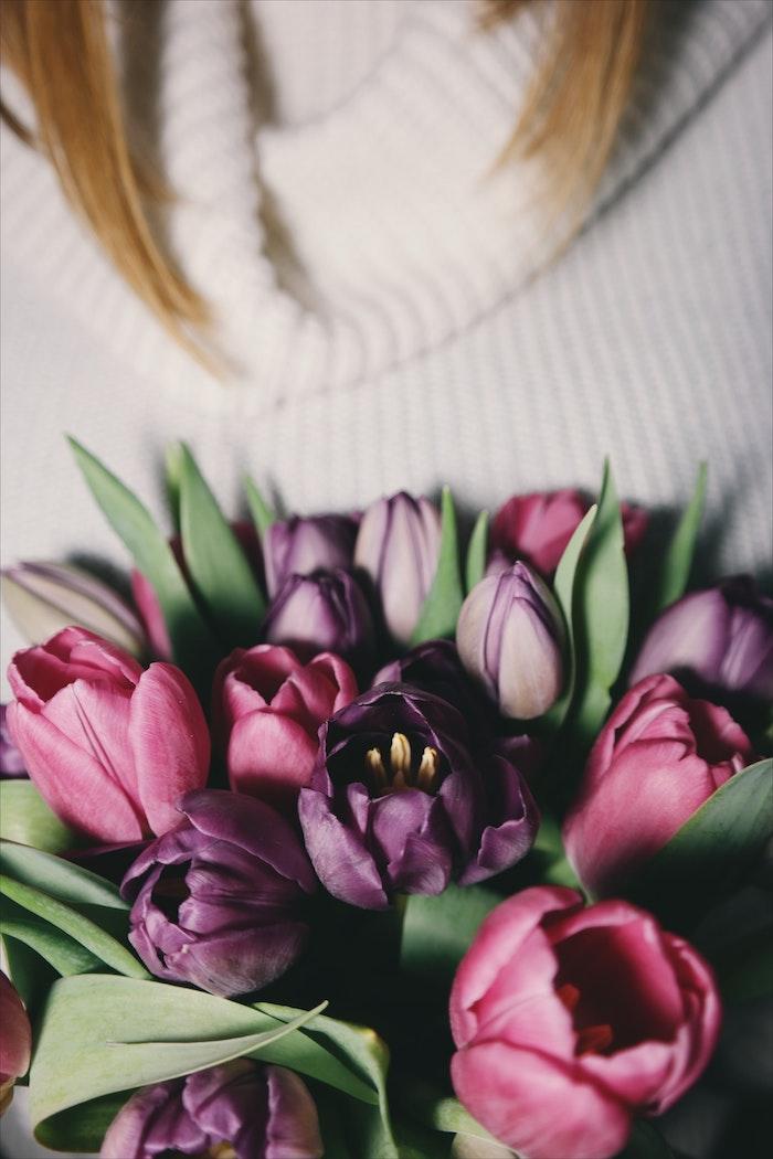 Bouquet de tulipes violetes et roses, entretenir ses tulipes, idée pour trouver la beauté de son jardin