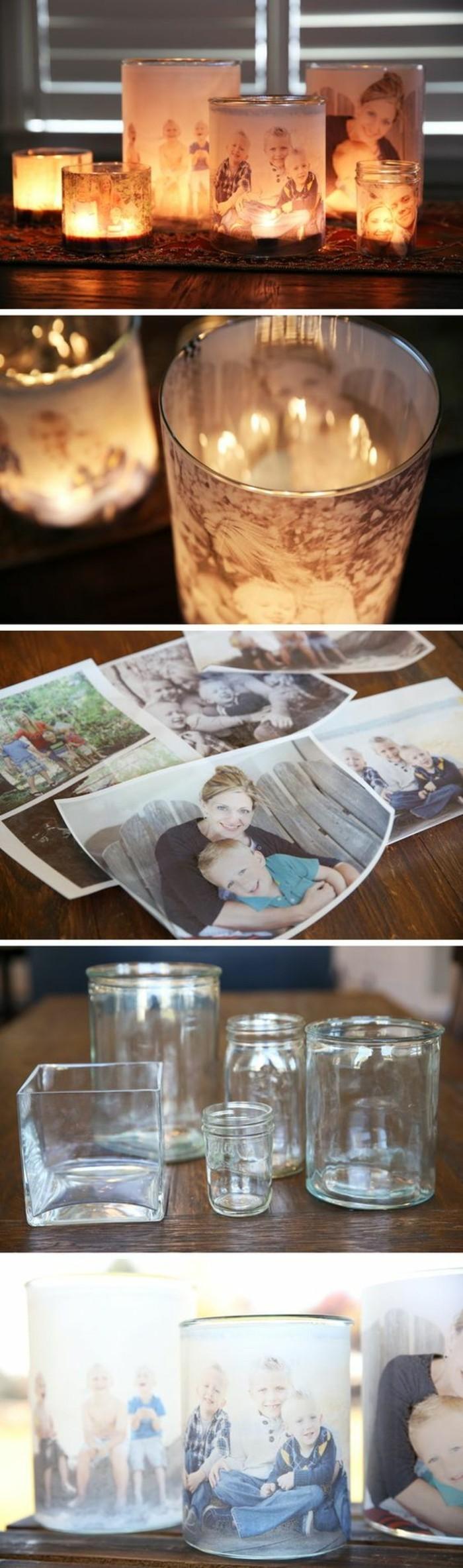 activité manuelle amusante, utiliser ses photos de famille pour faire un objet de déco, cadeau original a fabriquer