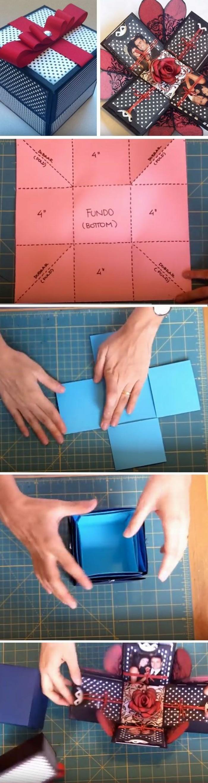 exemple comment réaliser une surprise pop-up, faire une carte ou boîte pop up avec photos, idée cadeau copine