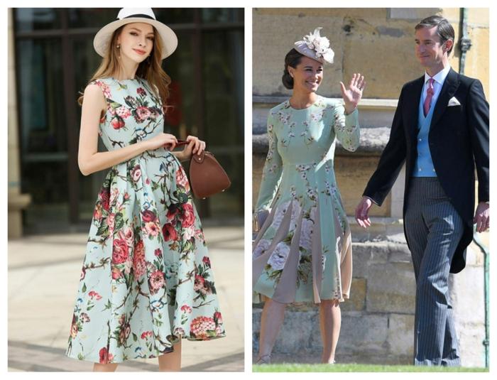 robe florale en couleurs pastels, chapeaux mariage différents styles, capeline mariage, bibi mariage