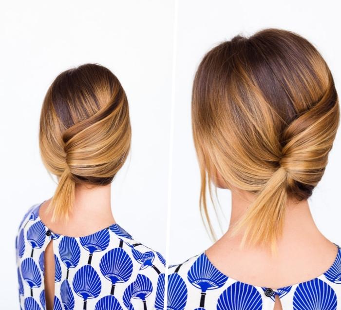 tuto coiffure cheveux mi long en balayage blond sur chatain, chignon banane avec queue de cheval miniature