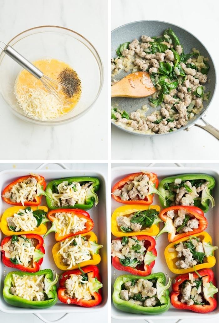 poivrons rouges et verts farcis de saucisse, oeufs, fromages et épinards, repas pour maigrir facile a faire