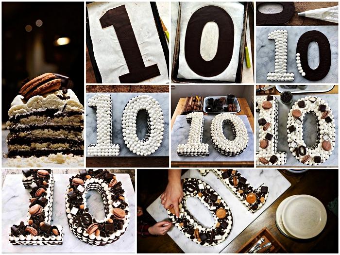 recettte number cake au chocolat de plusieurs couches de biscuit garni de crème au beurre, macarons et morceaux de chocolat, idée de gâteau d'anniversaire 10 ans à faire soi-même