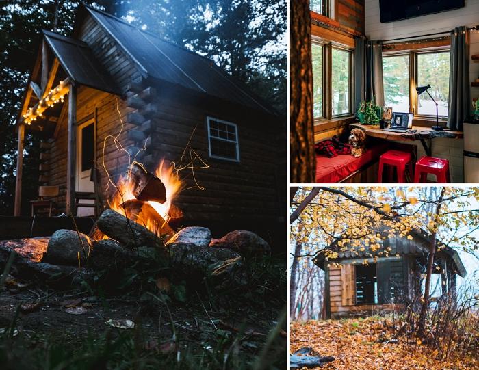 construire une cabane en palette pour son jardin, exemple de cabane de bois décorée avec guirlande lumineuse