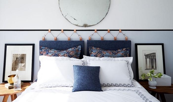 activité manuelle facile et rapide, fabriquer une tete de lit avec coussins, exemple déco chambre à coucher adulte