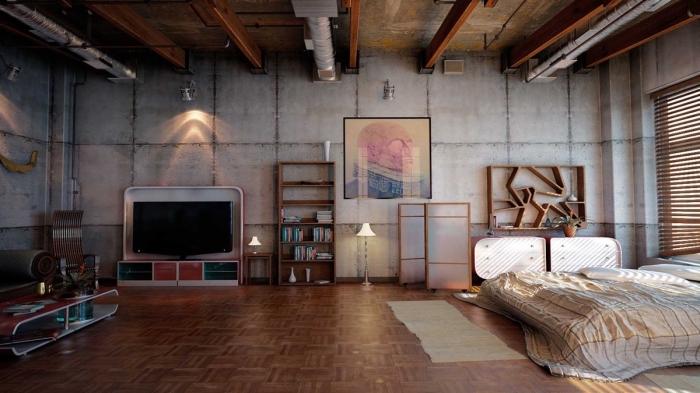 idée meuble style industriel en bois, idée rangement mural avec meuble étagère, pièce aux murs béton avec plafond poutres apparentes