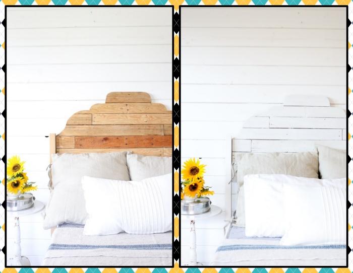 tutoriel pour relooker une tête de lit facile, idée comment fabriquer une tete de lit en bois, repeindre meuble bois avec peinture blanche
