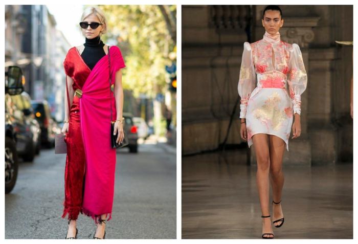 robe rose et rouge longue, robe rose pâle et blanche, sandales noires, manches bouffantes