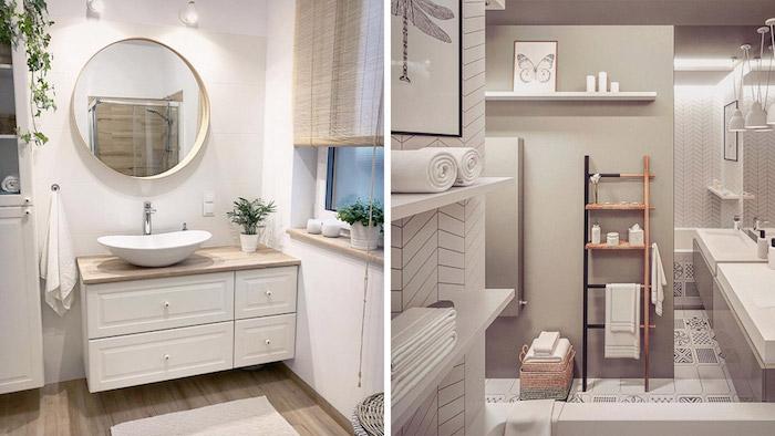 Style scandinave, salle de bain bois, salle de bain blanche et bois, simplicité dans l'intérieur, rond miroir et plante verte déco
