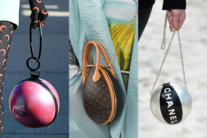 sac à main rond, mode printemps été 2019, trois modèles de sac en forme ronde, sac à main tendance