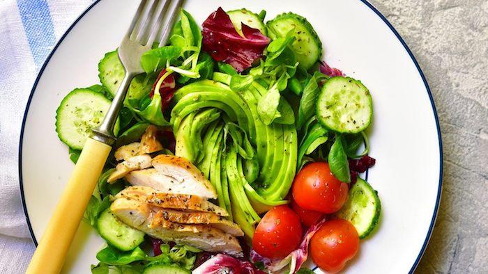 exemple salade composée avec dinde, avocat, concomres, tomates cerise et salades vertes, repas dietetique